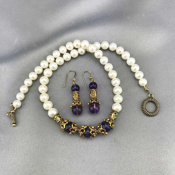 Etruscan Fresh Water Pearl & Amethyst Etruscan Style Necklace 02