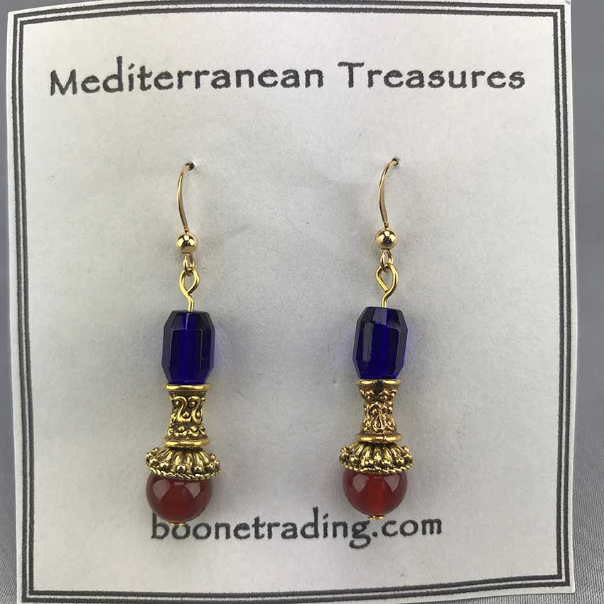 Etruscan Style Antique Bead Earrings 22A