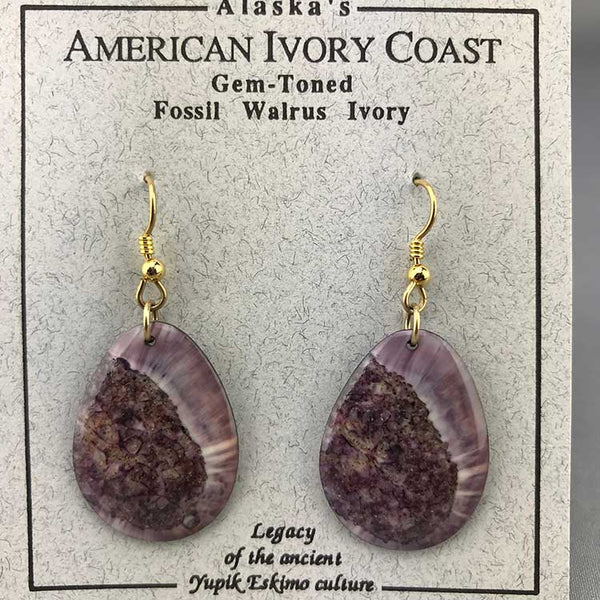 Fossil Walrus Gemtone Earrings Pair 05
