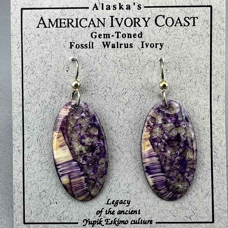 Fossil Walrus Gemtone Earrings Pair 08