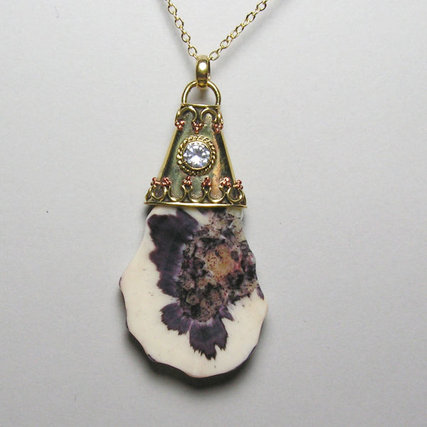 Fossil Walrus Gemtone and CZ Pendant 11