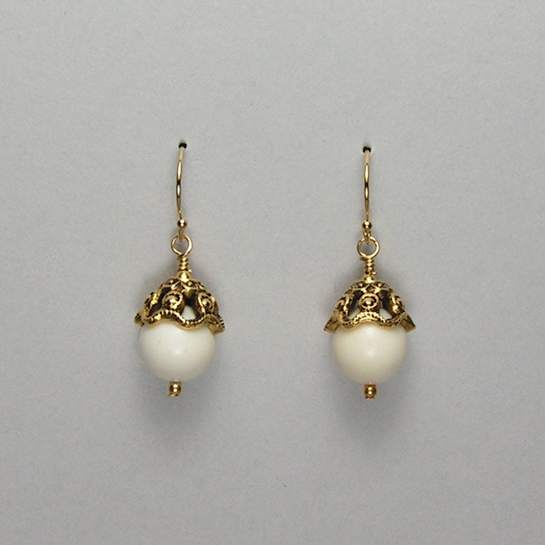 Mammoth Ivory 10mm Bead Earrings (K)