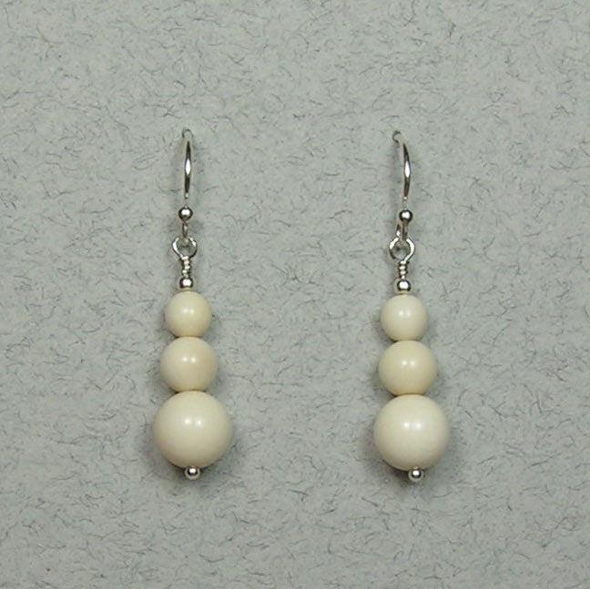 Mammoth Ivory 5-8mm Bead Earrings (I)