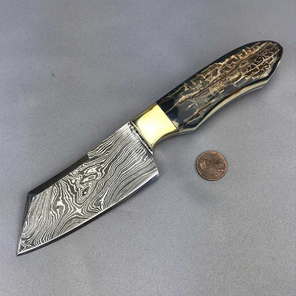 Mammoth Ivory Handled Damascus Hunter - 45