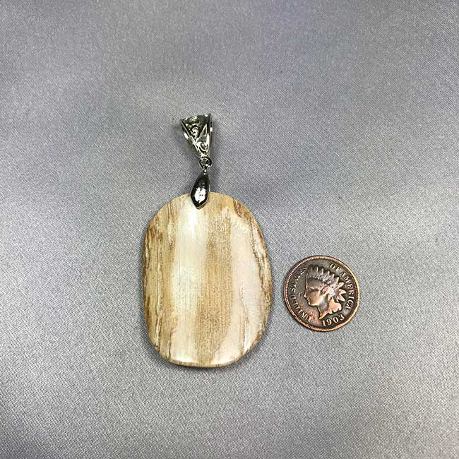 Mammoth Ivory Pendant with Silver Tone Bail  09