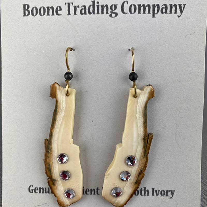 mammoth ivory earring with swarovski crystals