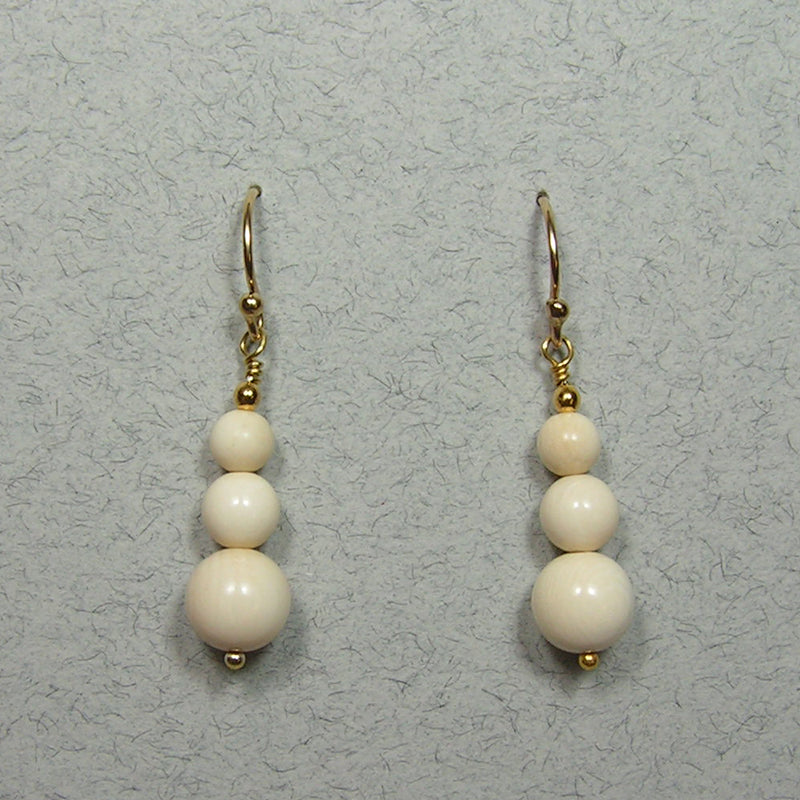 Mammoth Ivory 6-10mm Bead Earrings (H)