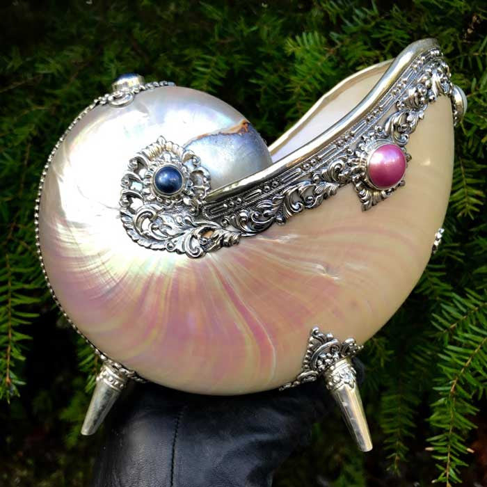 Nautilus Shell with Ornate Hand Tooled Sterling Silver and Mabe Pearls