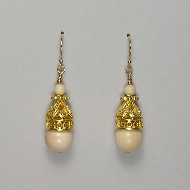 Mammoth Ivory 10mm Bead Earrings (O)