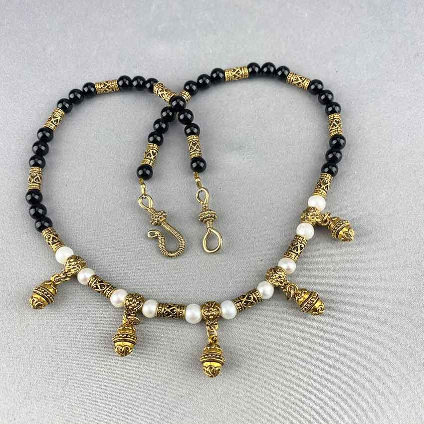 Pearl and Onyx Etruscan Style Necklace 05