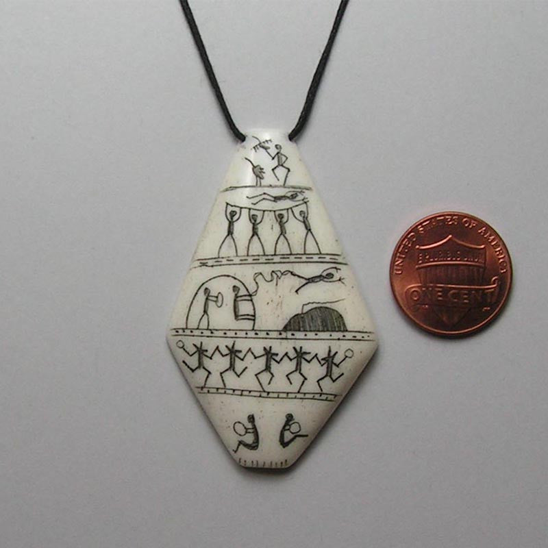 Scrimshawed Bone Pendant with Eskimo Pictographs 3