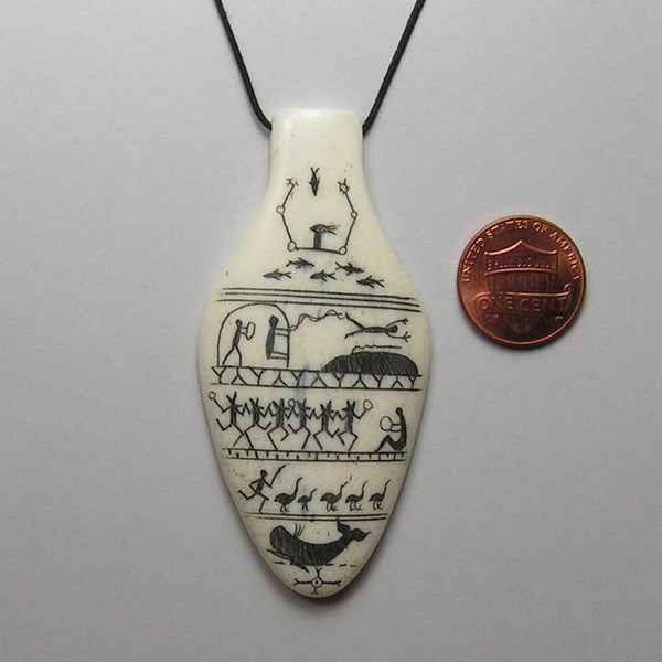 Scrimshawed Bone Pendant with Eskimo Pictographs 4