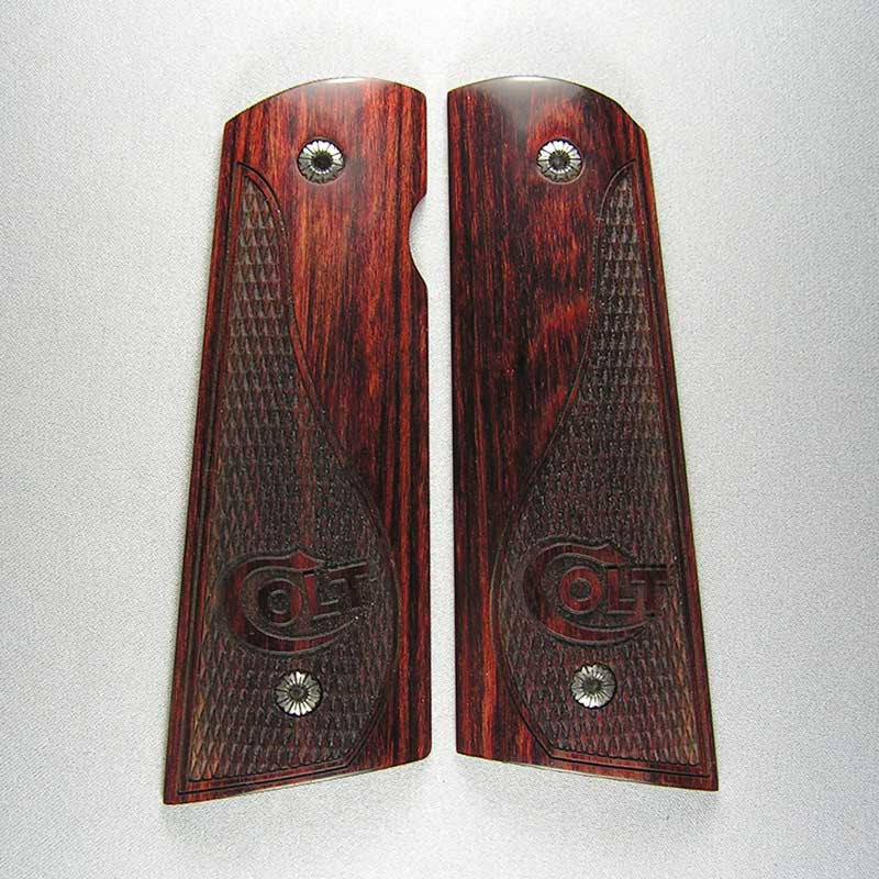 Super Rosewood 1911 Checkered Magwell Grips - Pattern B