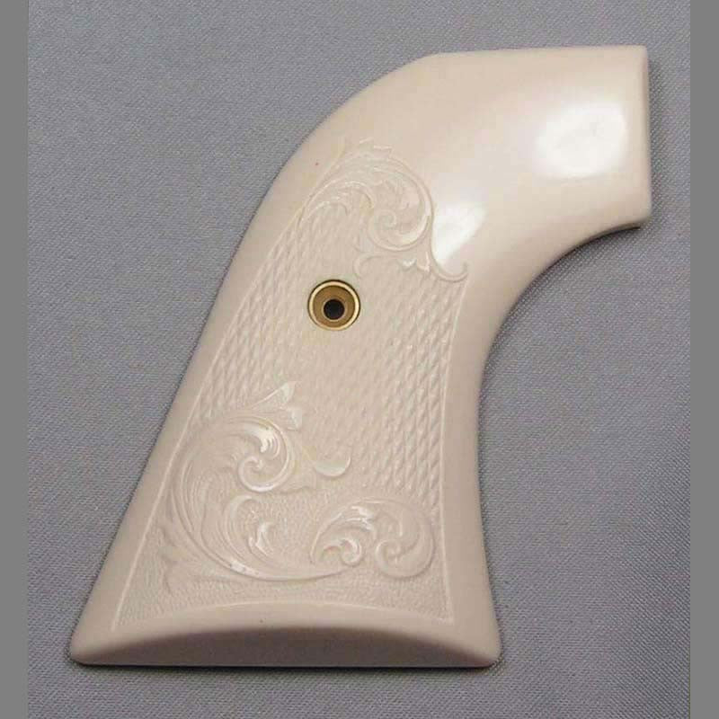 Ruger New Vaquero Simulated Ivory Pistol Grips with Scroll Checkering