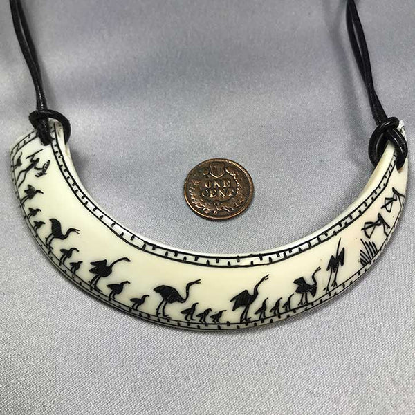 Scrimshawed Boar Tusk Necklace 01