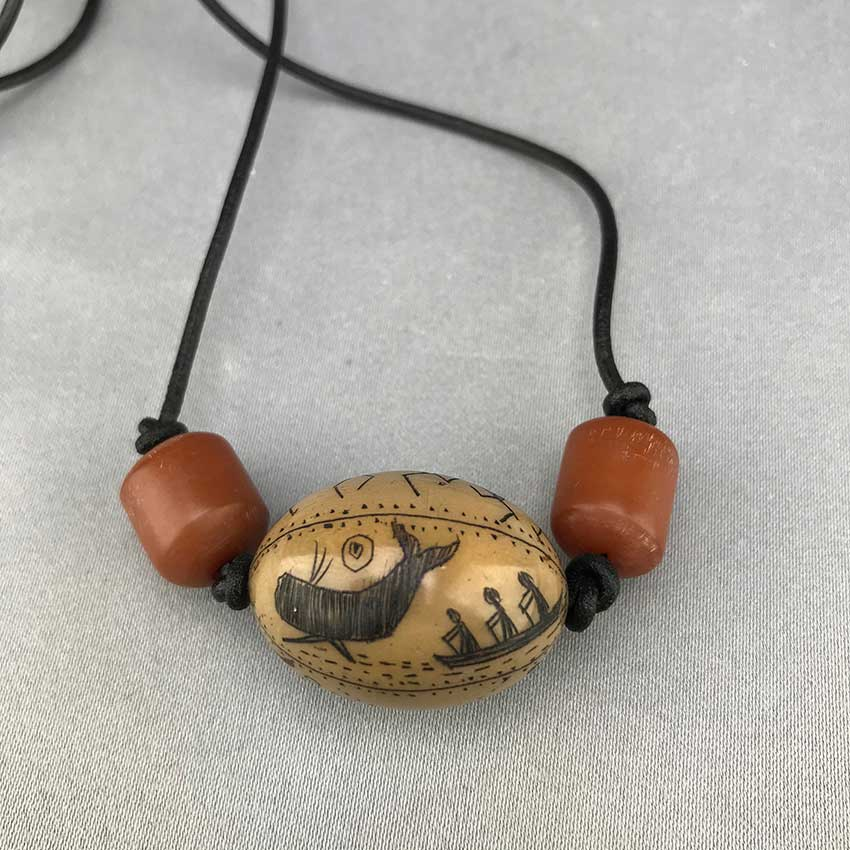Scrimshawed Pictograph Tauga Nut Necklace (B)