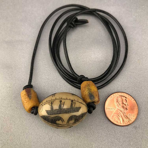 Scrimshawed Pictograph Tauga Nut Necklace (C)