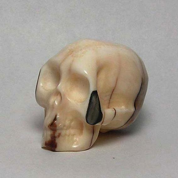 Fossil Walrus Ivory Handcarved Skull 1