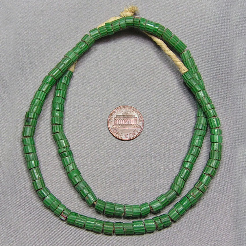 Green Chevron Trade Beads (A)
