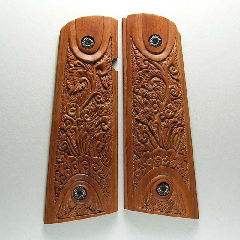 1911 Beautiful Carved Wood Pistol Grips