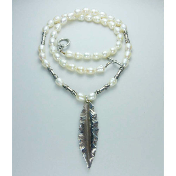 Fresh Water Pearl & Sterling Silver Feather Necklace