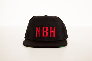"Load image into Gallery viewer, ""NBH"" Snapback: Black/Red"