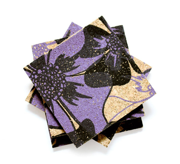 Poppy Coasters - Black + Purple