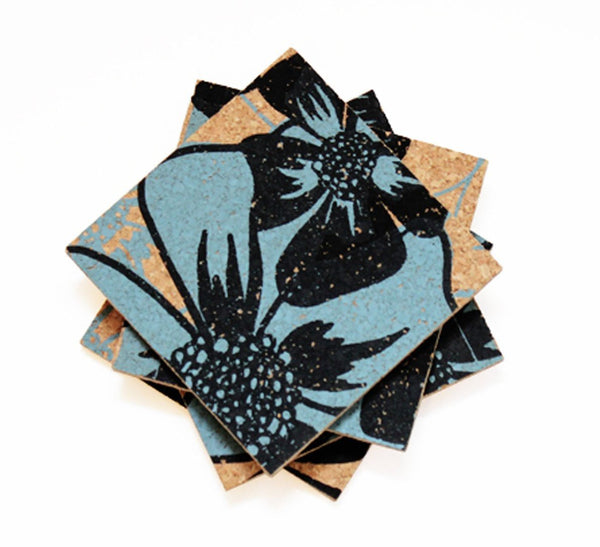Poppy Coasters - Black + Blue