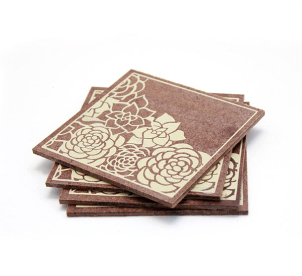 Floral Corners Coasters - Ivory