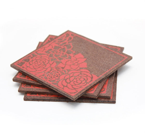 Floral Corners Coasters - Coral