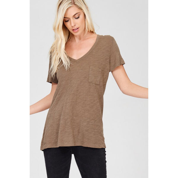 Olive Pocket Tee - The Wooden Hanger Boutique