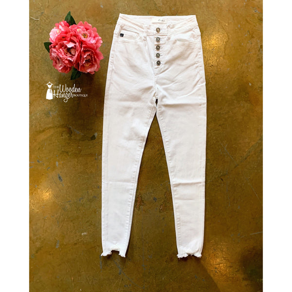 Kan Can White High Waisted Denim