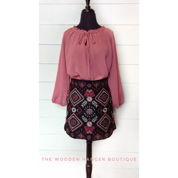 Back In Time Embroidered Skirt - The Wooden Hanger Boutique