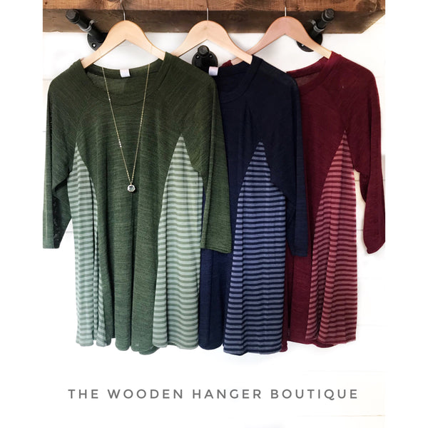 CURVY Line 'Em Up Striped Top - The Wooden Hanger Boutique