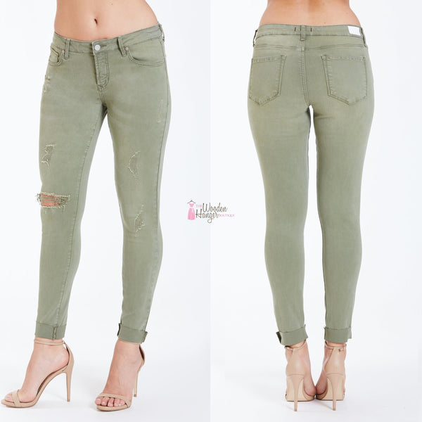 Joyrich Ankle Skinny, Basil - The Wooden Hanger Boutique