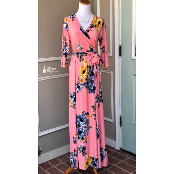 Peach Blossoms Maxi Dress