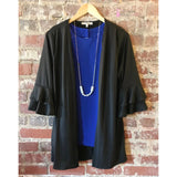 Night Owl Ruffled Sleeve Cardigan - The Wooden Hanger Boutique