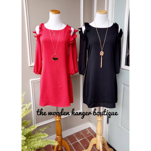 Christmas Cheer Cold Shoulder Dress - The Wooden Hanger Boutique