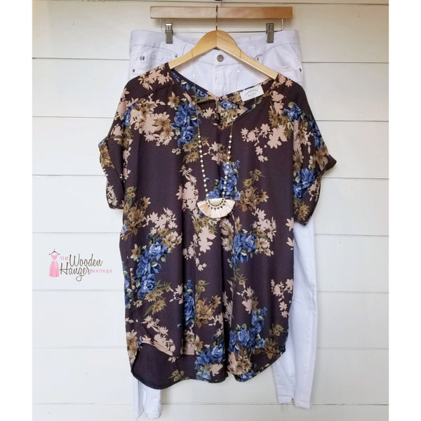 CURVY By the River Bank Floral Top - The Wooden Hanger Boutique