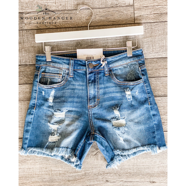 Ruthie Distressed Denim Shorts