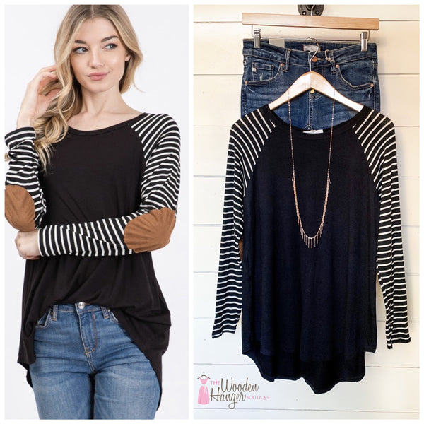Chilly Weather Elbow Patch Top