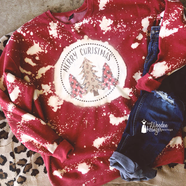 Merry Christmas Bleached Sweatshirt - The Wooden Hanger Boutique