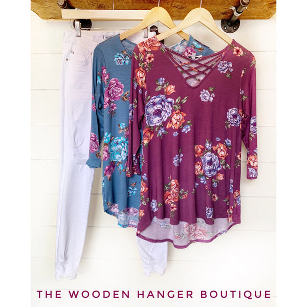 Behind the Lines Floral Top - The Wooden Hanger Boutique