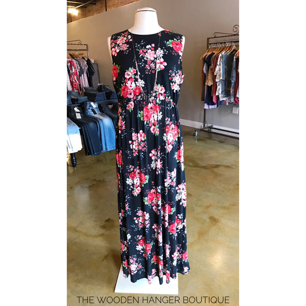 CURVY Back For More Sleveless Print Maxi - The Wooden Hanger Boutique