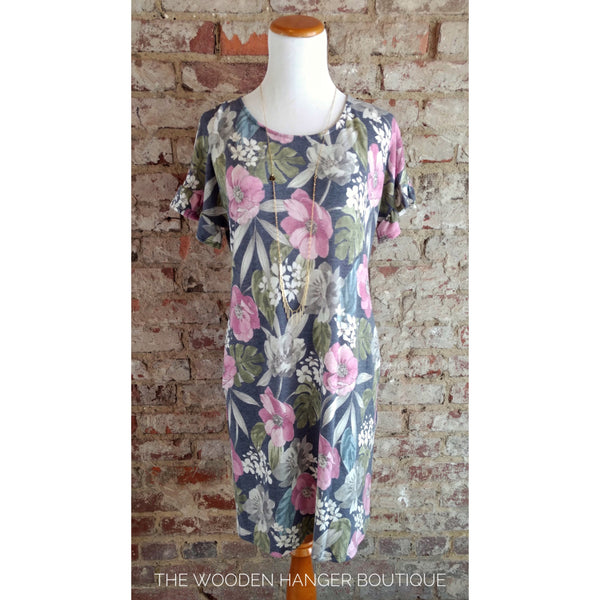 Draw Me Close Floral Print Dress - The Wooden Hanger Boutique