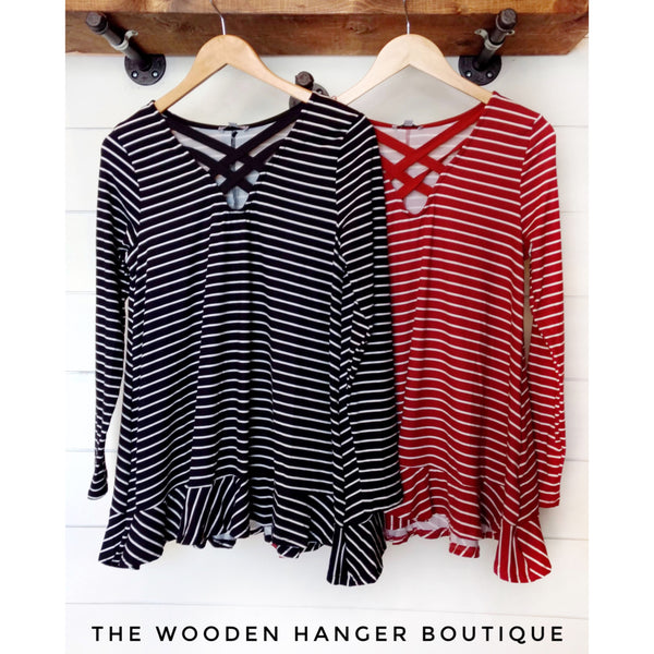 Linked To You Striped Top - The Wooden Hanger Boutique