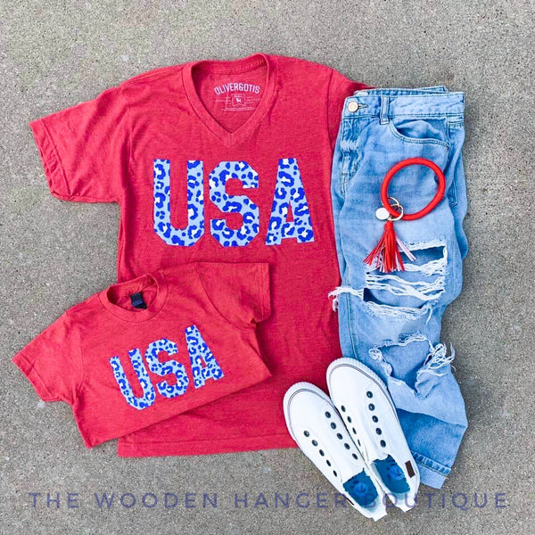Cheetah USA Tee - The Wooden Hanger Boutique