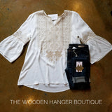CURVY Adventure Awaits Embroidery Top - The Wooden Hanger Boutique