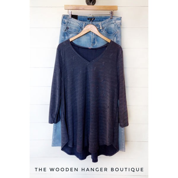 CURVY Game Changer Distressed Top - The Wooden Hanger Boutique