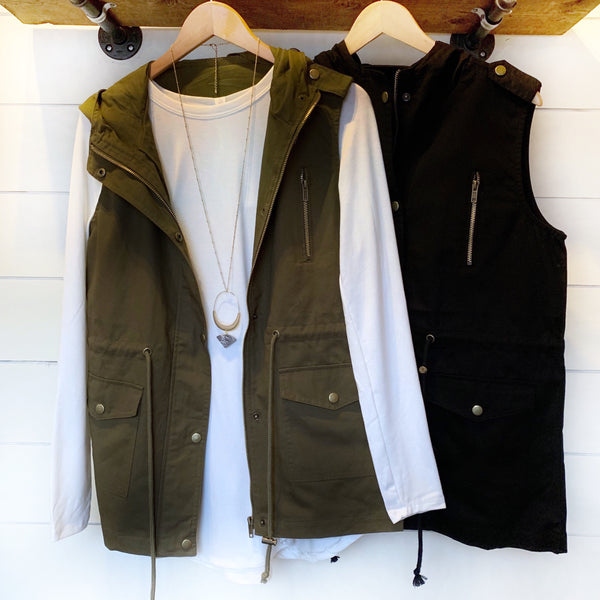 CURVY Winter Wardrobe Military Vest - The Wooden Hanger Boutique